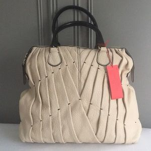 Valentino Garavani Maison Beige Leather Pintucked